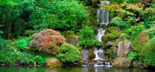 Waterfall at Portland Japanese Garden in Oregon Panorama